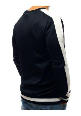 Pánska módna mikina s kontrastnými pásmi na rukávoch v tmavomodrej farbe