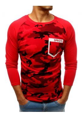 Pánske maskáčové tričko s dlhým rukávom v červenej farbe