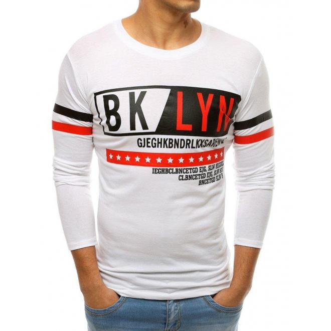 Biele módne tričko s potlačou pre pánov
