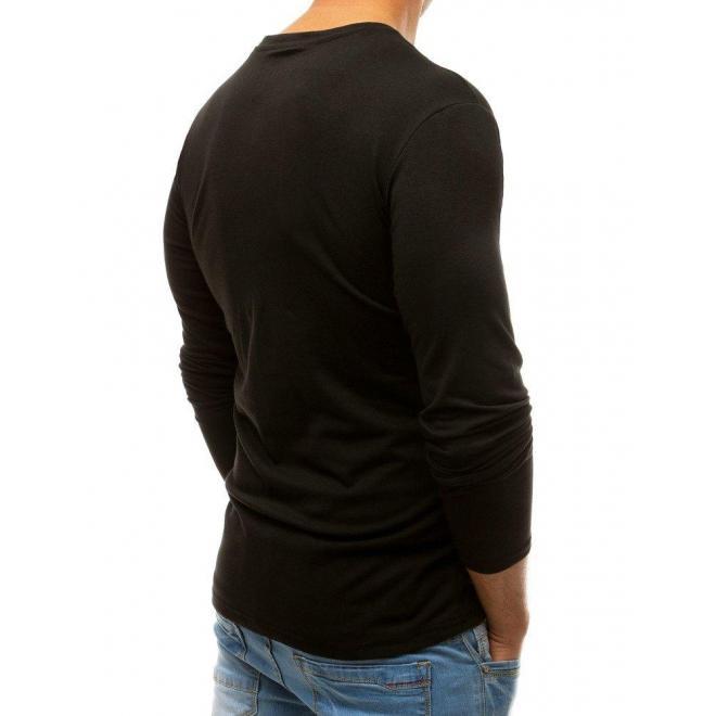 Pánske štýlové tričko s potlačou v čiernej farbe