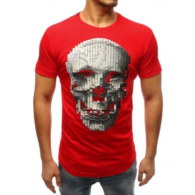 Červené módne tričko s potlačou pre pánov