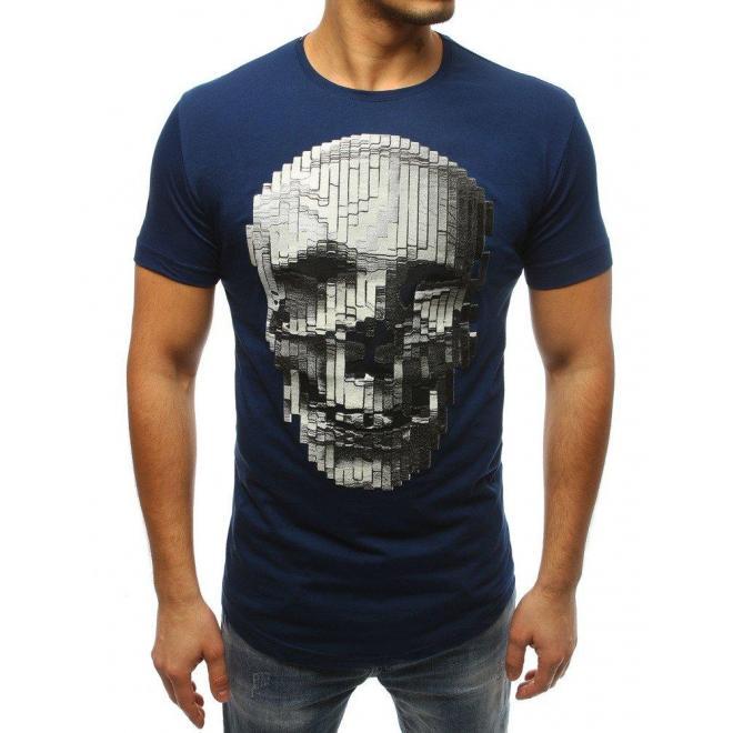 Módne pánske tričko modrej farby s potlačou