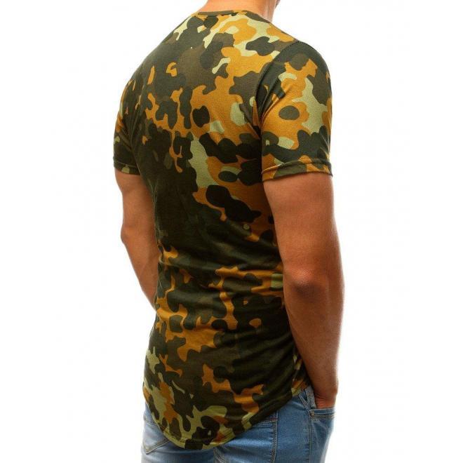 Maskáčové pánske tričko zelenej farby s krátkym rukávom