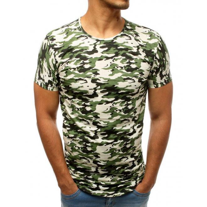 Zeleno-biele maskáčové tričko s krátkym rukávom pre pánov