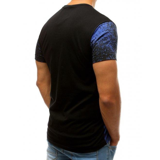 Modro-čierne štýlové tričko s potlačou pre pánov