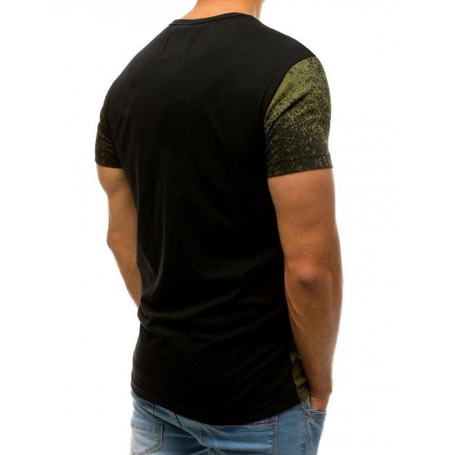 Pánske štýlové tričko s potlačou v zeleno-čiernej farbe
