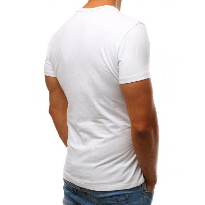 Pánske štýlové tričko s potlačou v bielej farbe