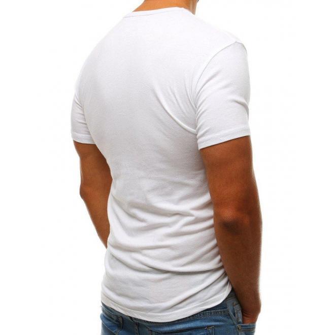 Športové pánske tričko bielej farby s potlačou