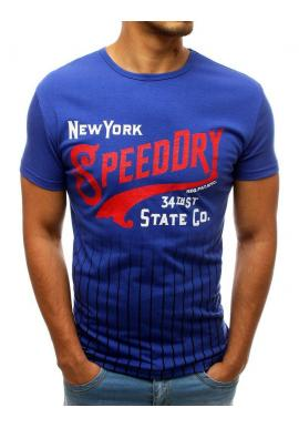 Modré štýlové tričko s potlačou pre pánov