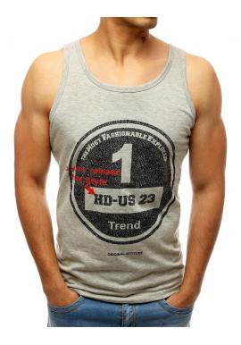 Pánske športové tričko s potlačou v sivej farbe