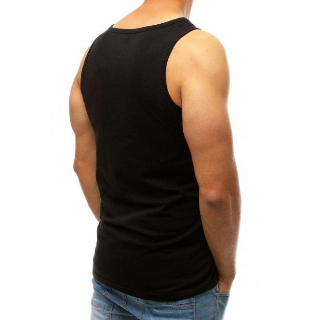 Čierne športové tričko s potlačou pre pánov