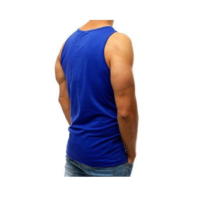 Pánske módne tričko s potlačou v modrej farbe