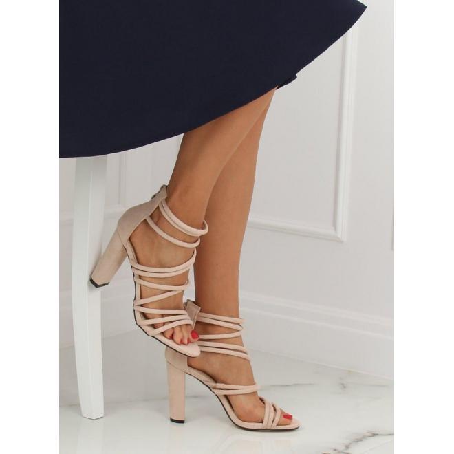 Béžové semišové sandále na podpätku pre dámy