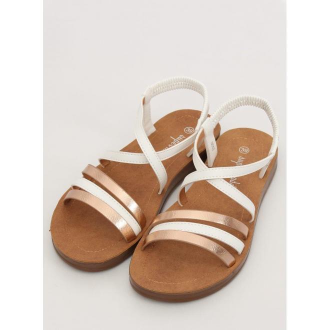 Biele pohodlné sandále s metalickými prvkami pre dámy