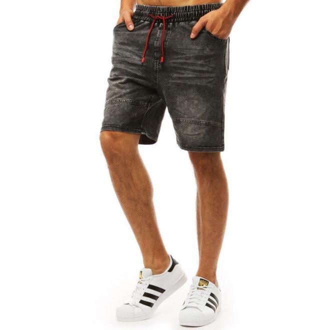 Čierne módne kraťasy s rifľovým vzhľadom pre pánov