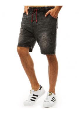 Módne pánske kraťasy čiernej farby s rifľovým vzhľadom