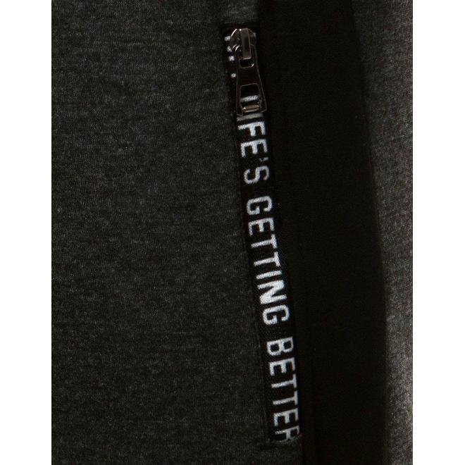 Sivé módne tepláky s kontrastnými vložkami pre pánov