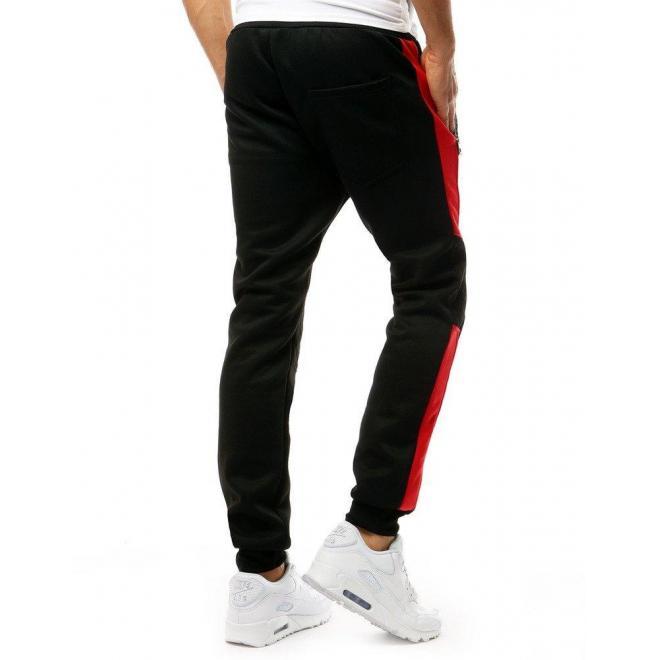 Pánske módne tepláky s kontrastnými vložkami v čiernej farbe