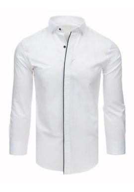 Pánska smokingová košeľa s plisovaním v bielej farbe