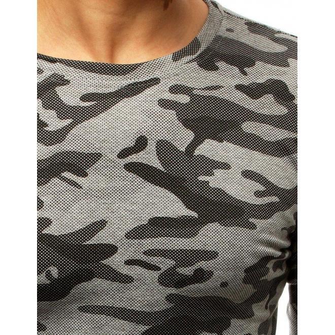 Maskáčové pánske tričko svetlosivej farby s dlhým rukávom