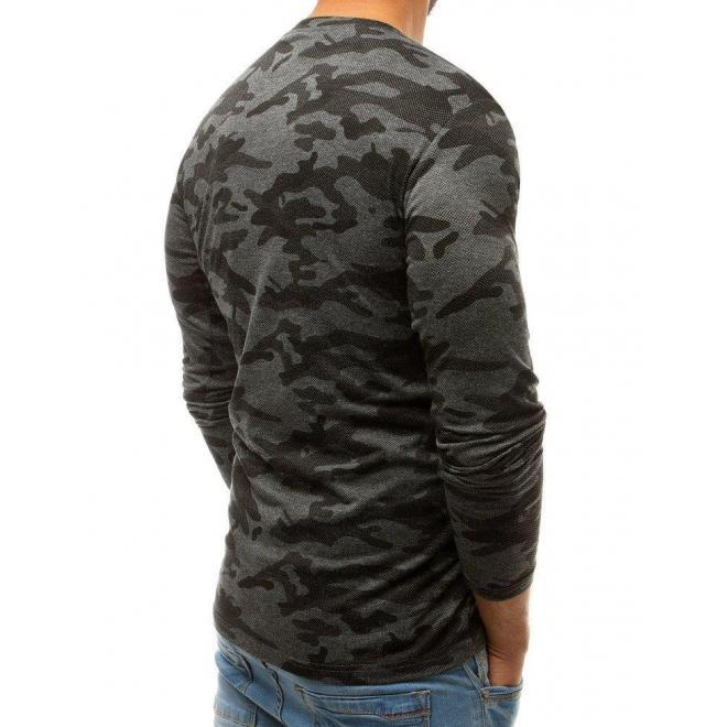 Pánske maskáčové tričko s dlhým rukávom v tmavosivej farbe