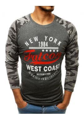Módne pánske tričko sivej farby s potlačou