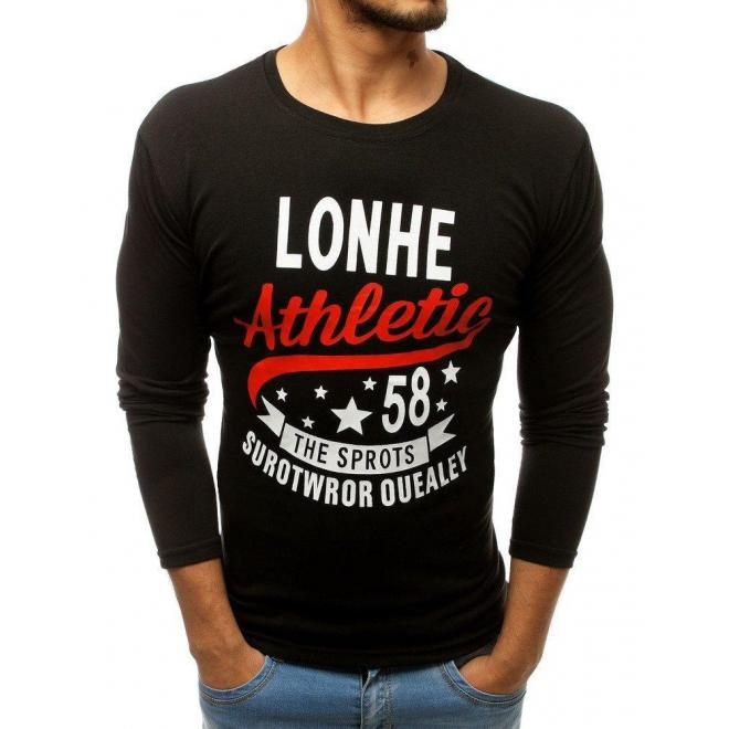 Štýlové pánske tričko čiernej farby s potlačou