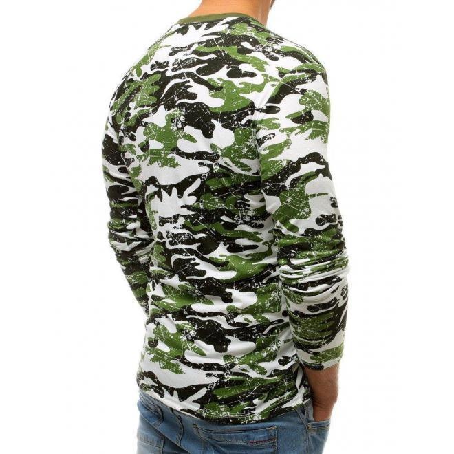 Pánske maskáčové tričko s potlačou v zelenej farbe