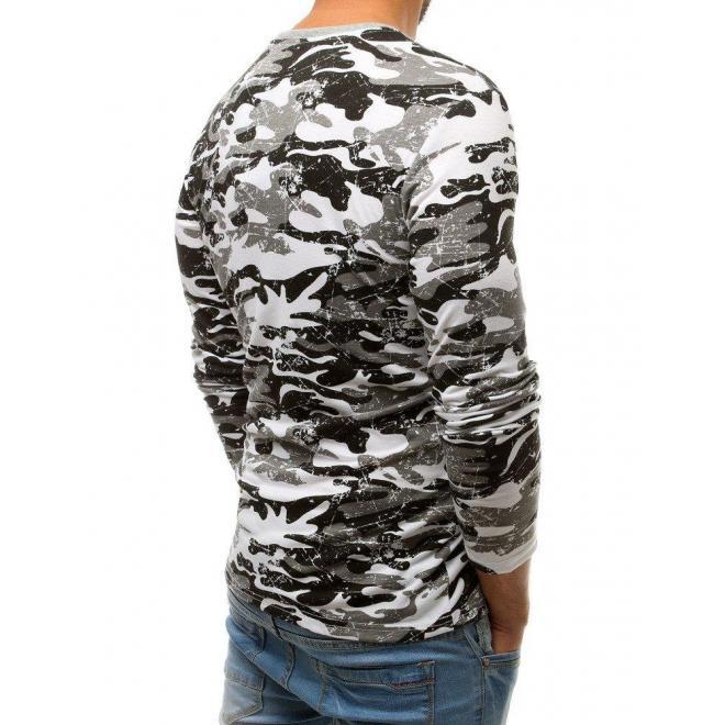 Maskáčové pánske tričko bielej farby s potlačou
