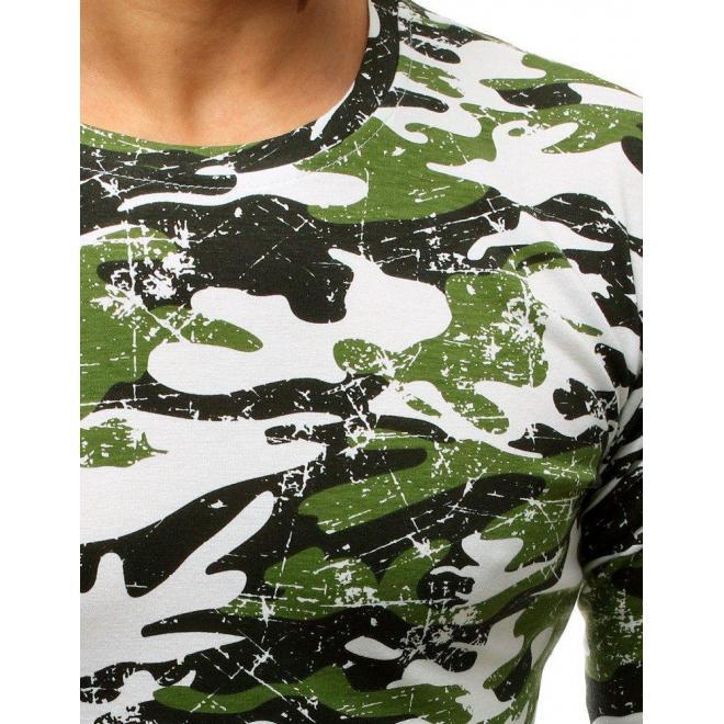 Bielo-zelené maskáčové tričko s dlhým rukávom pre pánov