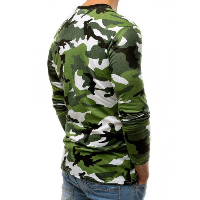 Maskáčové pánske tričko zelenej farby s potlačou