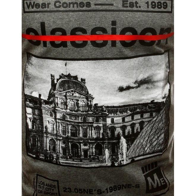 Pánske štýlové tričko s potlačou v tmavosivej farbe