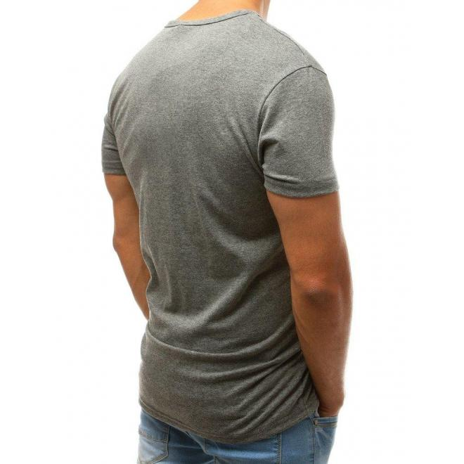 Tmavosivé módne tričko s potlačou pre pánov