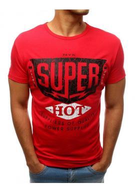 Štýlové pánske tričko červenej farby s potlačou