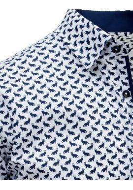 Biela módna košeľa s motívom mačiek pre pánov