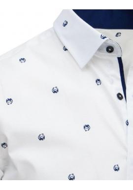 Módna pánska košeľa bielej farby s motívom pandy