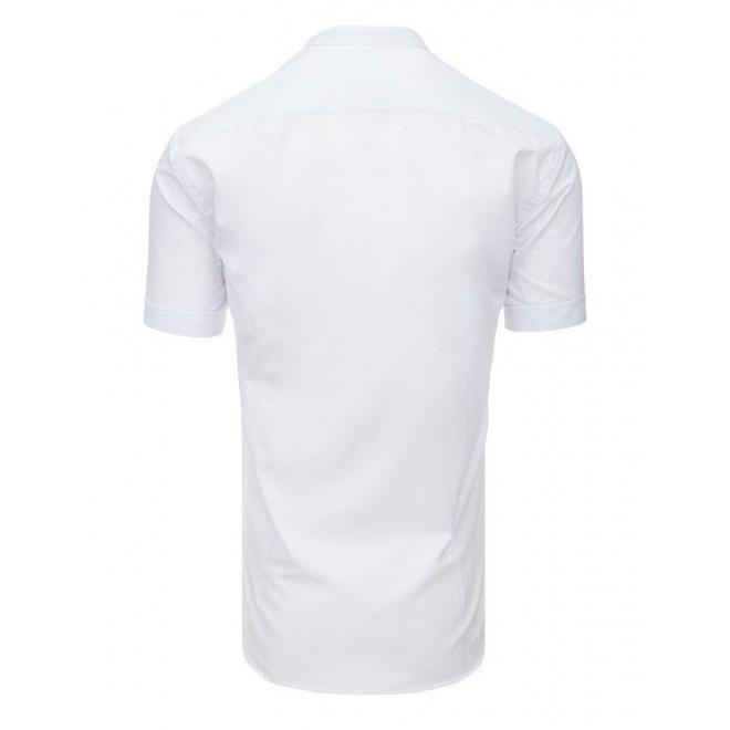 Biela módna košeľa s krátkym rukávom pre pánov