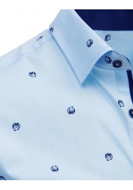 Módna pánska košeľa svetlomodrej farby s motívom pandy