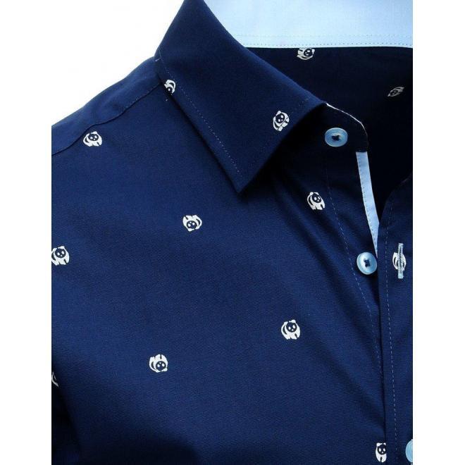 Pánska vzorovaná košeľa s krátkym rukávom v tmavomodrej farbe