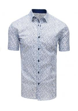Vzorovaná pánska košeľa bielej farby s krátkym rukávom