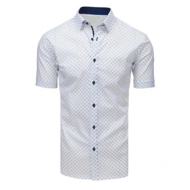 Pánska vzorovaná košeľa s krátkym rukávom v bielej farbe