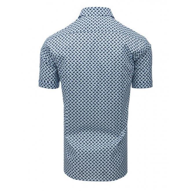 Svetlomodrá módna košeľa s motívom mačiek pre pánov