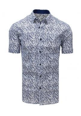 Pánska vzorovaná košeľa s krátkym rukávom v modro-bielej farbe