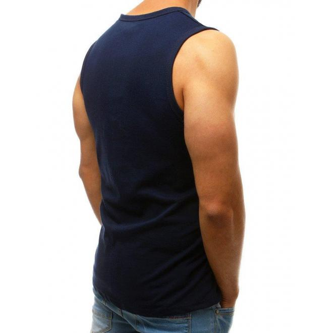 Bavlnené pánske tričko tmavomodrej farby s potlačou