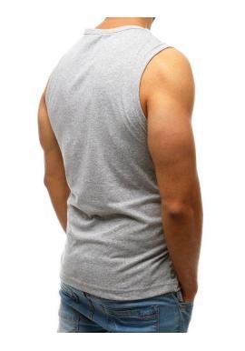 Svetlosivé bavlnené tričko s potlačou pre pánov