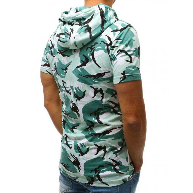Pánske maskáčové tričko s nášivkami v tmavosivej farbe