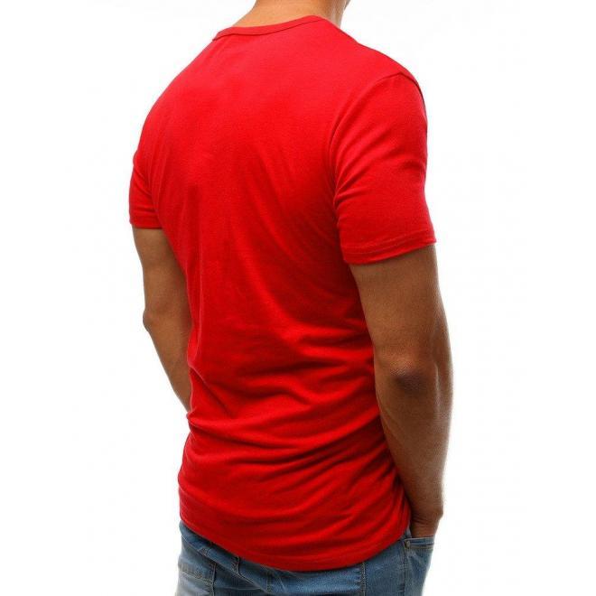 Módne pánske tričko červenej farby s potlačou