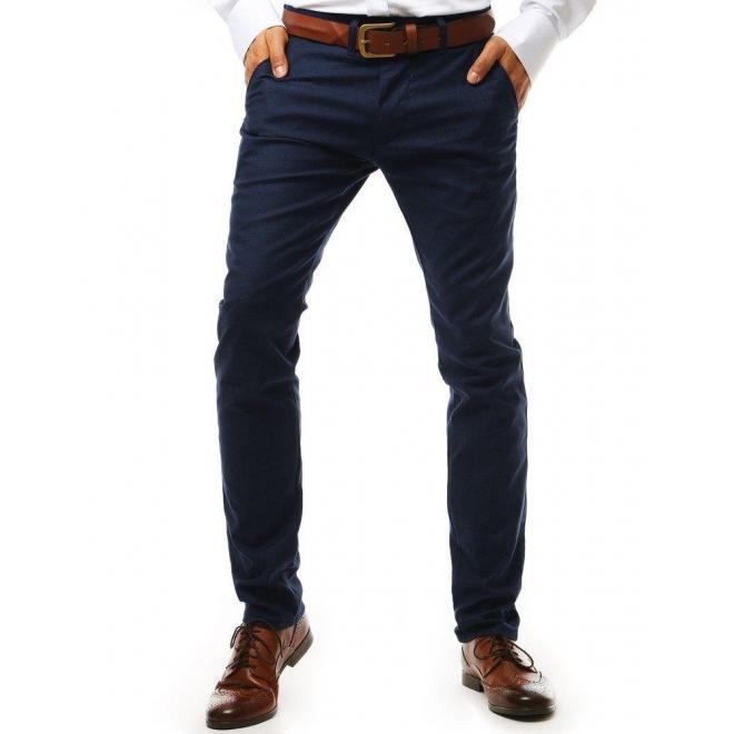 Elegantné pánske nohavice Chinos tmavomodrej farby