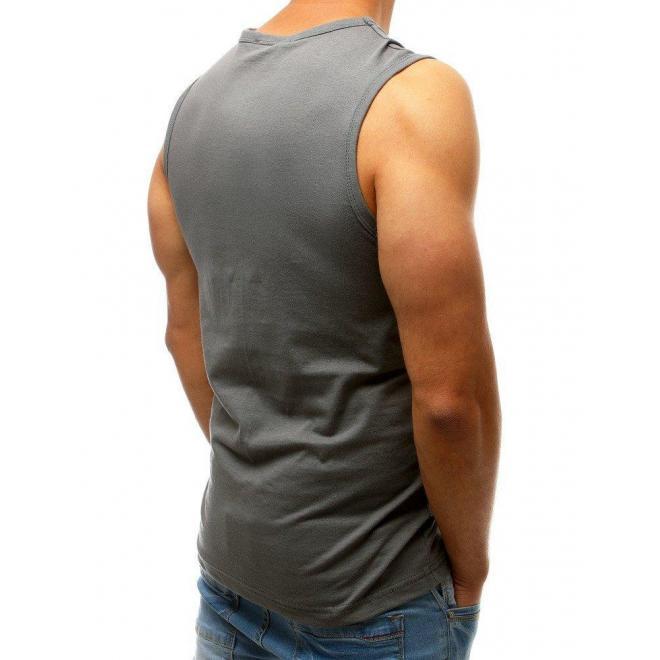 Pánske bavlnené tričko s potlačou v tmavosivej farbe