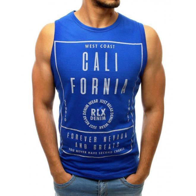 Pánske štýlové tričko s potlačou v modrej farbe